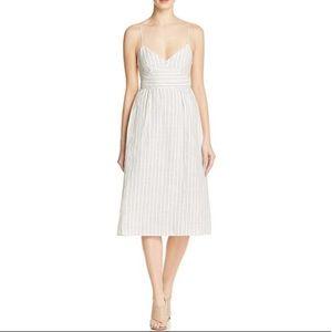 Theory Melaena B white striped linen dress sz 10
